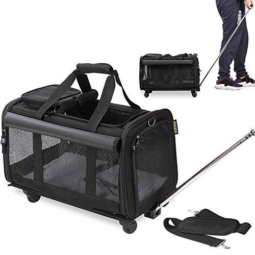 KOPEKS Transportatore di Viaggio per Animali Domestici con 4 Doppie Ruote e Maniglia Estensibile per Portare Il Tuo Piccolo a Medio Cane e Gatto - Nero