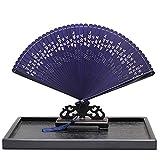 Ventilador de Mano Fan de Boda Regalo de bambú de bambú Ventilador Plegable de Boda Fiesta de Novia de Boda Handcraft Mano Plegable Ventilador (Color : Blue)