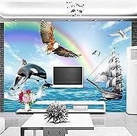 イーグルドルフィンシーレインボーフォーウォールズ壁画壁紙壁装飾写真壁紙3D壁紙壁画寝室-400x280cm