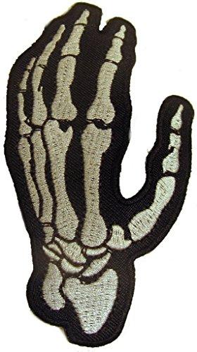 Halle 15 Clothes Parche para motero, diseño de mano izquierda de hueso T72