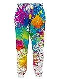 RAISEVERN Unisex Joggers Pants Colorful Paint Printed Sweatpants Rainbow Graffiti Gym Trousers with Pocket for Men Women