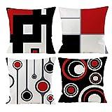 gsp gspirit 4 pack cuscini divano moderni rosso cotone biancheria tropicale decorativo copricuscini divano 45x45 cm