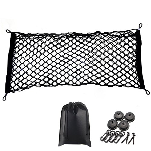 Premium Quality Adjustable Elastic Cargo Net Universal Stretchable Truck Net with Hooks,Storage Bag for Car, SUV, Truck, Pickup TrucksBlack 35x16in