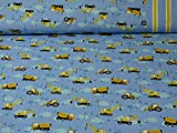 Baumwolljersey von Hilco, Baufahrzeuge, Bordüre, blau (ab