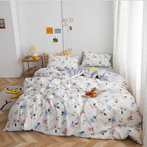 DUIPENGFEI Autumn And Winter Pure Cotton Simple Style, Quilt Cover, Bed Sheet, Pillowcase, 3-piece Set, White Floral, Suitable For 1.2m Single Bed