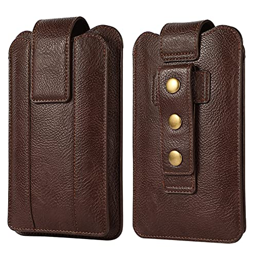 Bolso de Teléfono Móvil para Hombre, Bolsillo para Cinturón de Hombre, 7.2' Vertical Riñonera de Piel Funda para Teléfono Cartera Billetera Bolsa de Cuero con Clip para Cinturón para Aire Libre Viaje