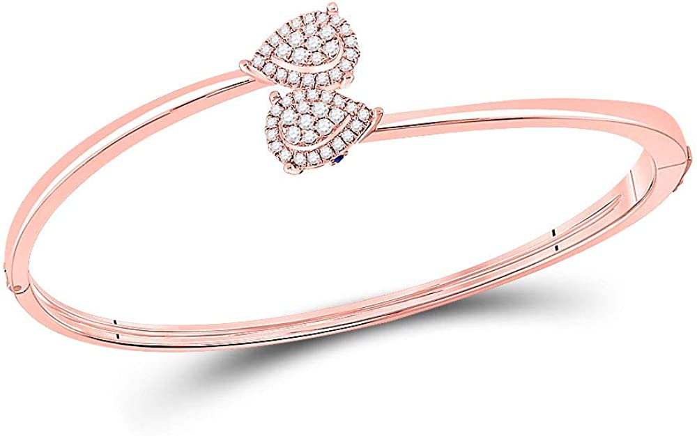 14kt Rose Gold Womens Round Pear Diamond Louisville-Jefferson County Mall Max 65% OFF Bracelet Cluster Bypass