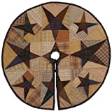 Primitive Star Quilted Christmas Tree Skirt 24' Round 100% Cotton Handmade Hand Quilted Heirloom Quality. for Tabletop Trees.