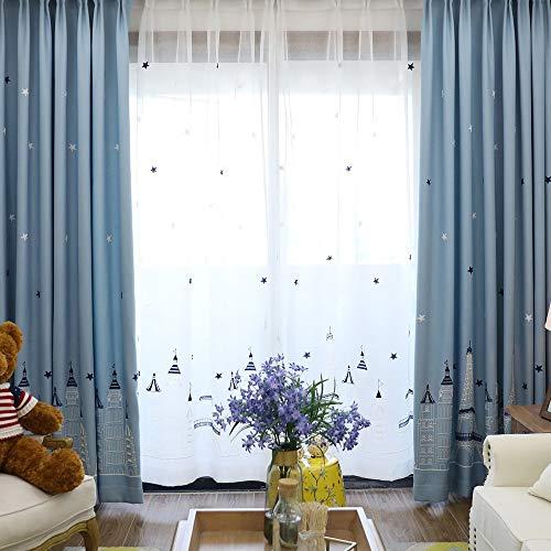 Starry Castle Thermal Rideaux Occultants Panneau pour Enfants Chambre Salon Décoration De La Maison (Color : Cloth, Size : 2 Panel*W2.5*H2.7m)