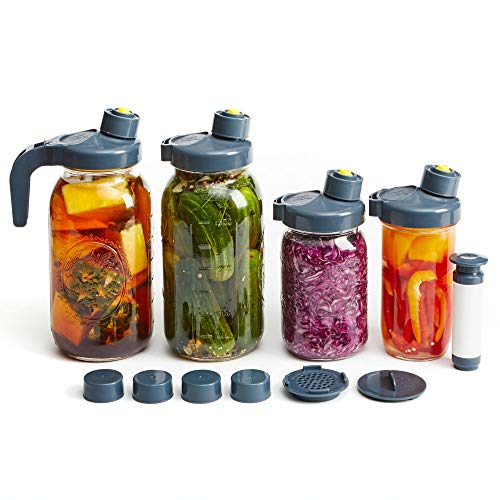 My Mason Makes Fermentation Kit – Easy, Mold-Free Kit for Fermenting Drinks & Vegetables – Includes 4 Wide Mouth Mason Jar Fermenting Lids, Pump, Drink Accessories, Recipe Book & More