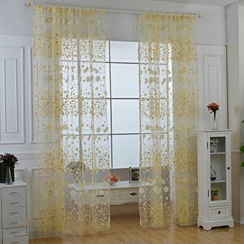 PanDaDa Floral Sheer Voile Curtain Drape Panel Tulle Valances Yellow