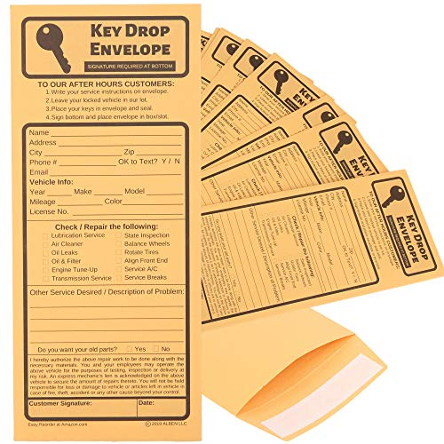 Key Drop Envelopes for After Hours � Auto Shop Repair or Service Peel & Seal Drop Box Envelopes - Automotive Mechanic Night Drop Off, Overnight or Early Bird, Kraft Paper, 4 1/8 x 9 1/2 (50)