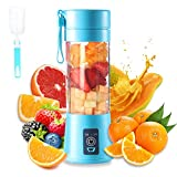 Portable Blender Cup,Electric USB Juicer Blender,Mini Blender Portable Blender For Shakes and Smoothies, juice,380ml, Six Blades for Great Mixing,bule