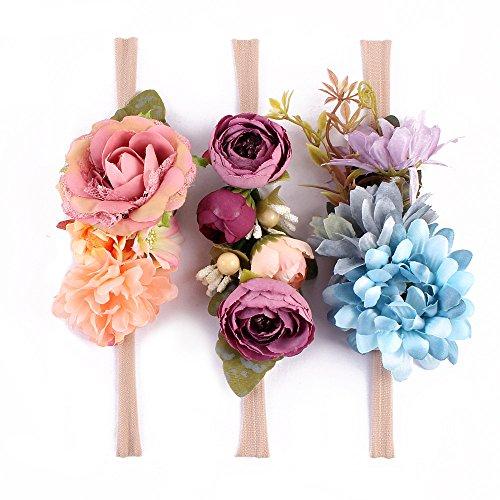 MoonyLI Blume Krone elastische Blume Stirnband Baby Mädchen Kranz Neugeborenen Haarschmuck Party Supplies, dehnbar - 7St