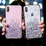 YHWW Screen Protector Bling Sequin Star Telefonkasten für iPhone 7 8 X XR XS Max Weiche Silikonabdeckung Glitter Coque für iPhone X 6 6S 7 8 Plus Klar Capa, Grün, für iPhone XS Max