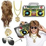 MMTX Fasching Karneval Kostüm Set Vokuhila Perücke Aufblasbare Radio Boombox Sonnenbrille Goldkette Ring Gold Dollar 80er 90er Party Accessoires Rapper Zubehör