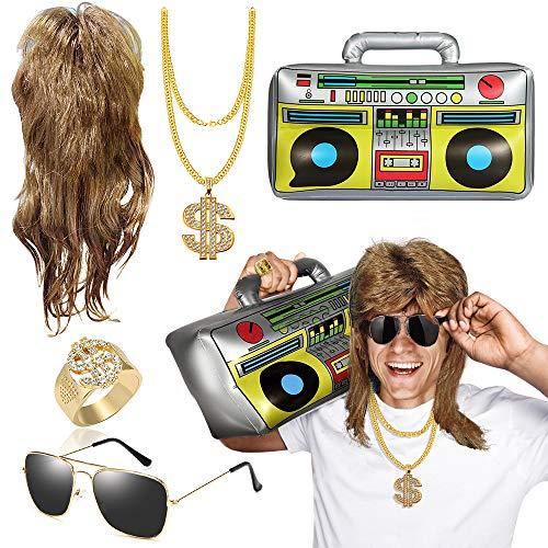 MMTX Kit de Disfraces de Hip Hop, Peluca Vokuhila + Gafas de piloto con Espejo + Caja de Auge Inflable + Aanillo de Cadena de Oro en D¨®Lares Accessories de Raperos de 80s/ 90s