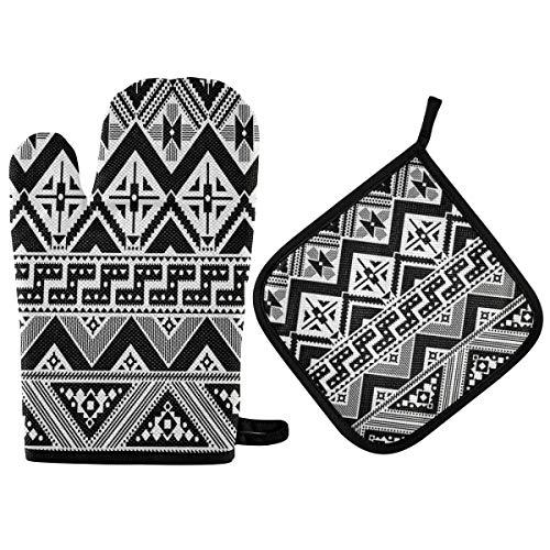 TropicalLife Hajie - Juego de manoplas para horno azteca geométrica tribal azteca resistente al calor con asa para colgar para hombres y mujeres
