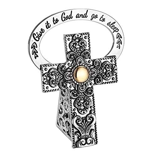 "Kreuz ""Give it to God and go to Sleep"", gepunktet, 6,4 cm"
