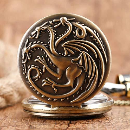 YUTRD ZCJUX Cadena Fina de Bronce bellamente grabada con patrón de Monstruo de Tres Cabezas Reloj de Bolsillo clásico Reloj de Bolsillo clásico