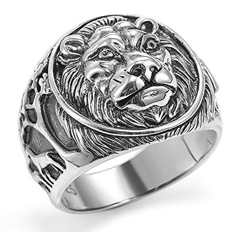 Anillo de plata S925 para hombre y mujer, anillo de cabeza de león, estilo retro, anillo de boda para novio y papá 12-28# 13#