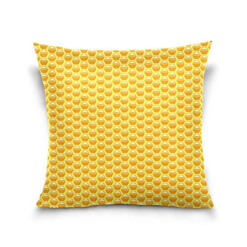 AEMAPE Nido de Abeja patrón Amarillo Funda de Almohada Dulce Cama sofá Coche Funda de Almohada Cuadrada Funda de cojín 18 'x 18' para sofá Cama de Coche