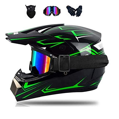 AIEIR Motocross Helme,2021 professionelle Motocross Downhill Integralhelm, Helm Kinder, mit Brille Handschuhe Maske ,für Mountainbike Moped Bergbuggy Sport Sicherheit (D, S)