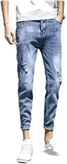 MogogN Mens Holes Slim Washed Middle Waist Relaxed Fit Jeans with Pockets