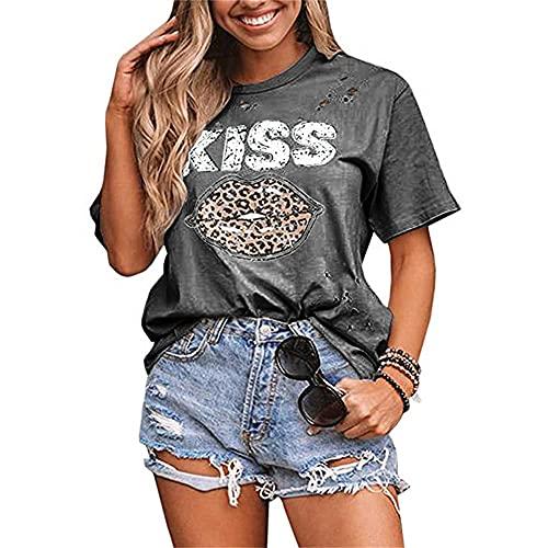Blusa Mujer Verano Cuello Redondo Agujero Estampado De Letras Labios De Leopardo Mujer Camisa Casual Exquisita Elasticidad Colocación Estilo Callejero Estilo Hip-Hop Mujer Top D-Dark Grey XL