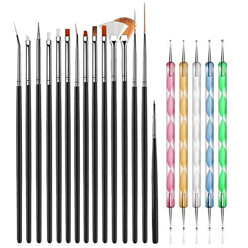 JOYJULY 20pcs Nail Art Design Tools, 15pcs Painting Brushes Set with 5pcs Dotting Pens, BLACK …