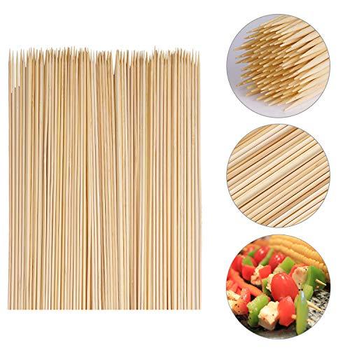 VABNEER 120 Pièces pic brochette Bois Pique a Brochette Bambou Bâton de Bambou Barbecue pour Les Barbecues, Les légumes, Les Fruits, Les Fêtes de Famille (25cm)
