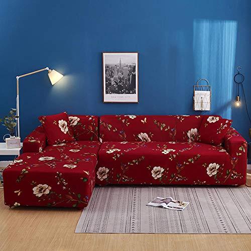 QJHDM Fundas De Sofá Elástica 1/2/3/4 Plazas,Protector De Muebles Cubre Universal Antideslizante Elástica Extensible Fabric Sofa Cubierta, Estilo Retro #BU 1 Plazas(90-140Cm)