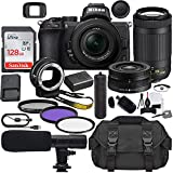 Nikon Z50 Mirrorless Digital Camera with 16-50mm Lens (1633) & AF-P 70-300mm Lens Bundle + Prime Accessory Kit Including 128GB Memory, Shotgun Microphone, Camera Case, Hand Grip & More