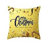 Daesar Fundas para Cojines Navidad,1 PCS-Merry Christmas and Happy New Year Estrella Amarillo Oro Funda Cojines Decoracion 50x50
