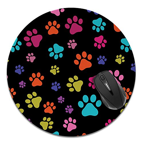 Super Size Round Mousepad, FINCIBO Large Mouse Pad for Home, Office and Gaming Desk, Multicolor Paws Dog