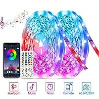 20M Bluetooth Striscia LED, TASMOR RGB LED Striscia Sincronizzazione con Musica, Nastri LED Controllo con APP e Telecomando per Decorazioni Cucina, Bar, Festa