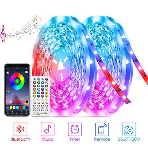 20M Bluetooth LED Streifen Sync mit Musik, Tasmor RGB 5050 LED Strip 2×10m mit APP-Steuerung und Fernbedienung, Dimmbar LED Band Selbstklebende Leiste für Home, Party