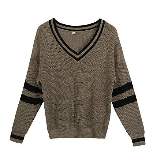 CUYOC Pullover Damen Einfarbig V-Ausschnitt Oberteile Sweater Langen Ärmeln Pullover...