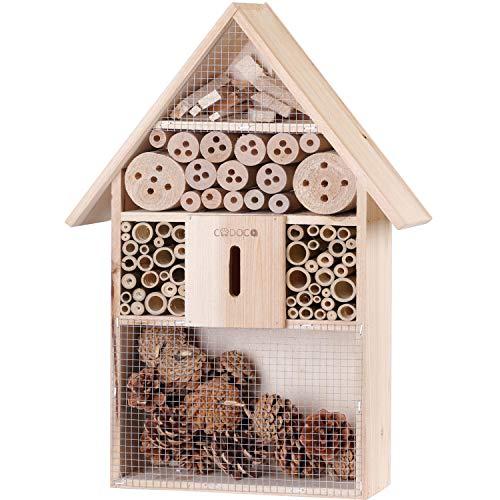 Deuba Insektenhotel XXL aus Holz mit Spitzdach Insektenhaus Nistkasten Brutkasten Insekten Bienen Hotel zum Aufhängen