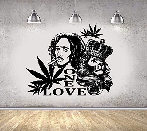 jtxqe Wall Lion One Love Musikdesign/Tattoo Wandaufkleber Abnehmbare Wandaufkleber Wandaufkleber Blumen Kinder 57X42Cm