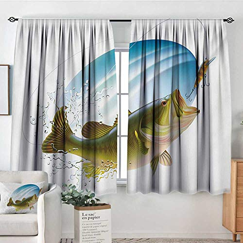 All of better Fishing Waterproof Window Curtain Largemouth Sea Bass Catching a Bite in Water Spray Motion Splashing Wild Image Bedroom Blackout Curtains 55