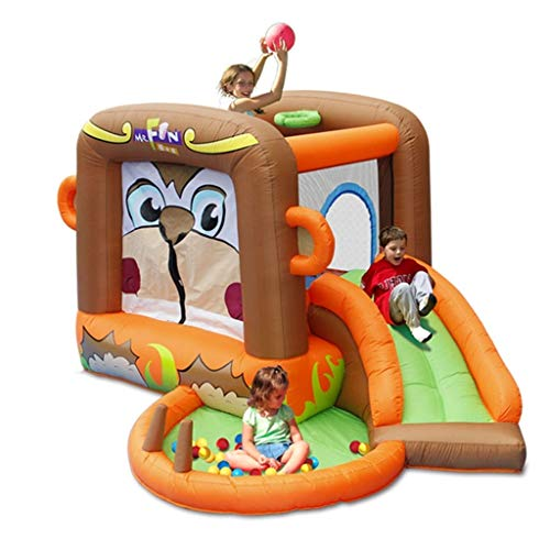 Qazxsw Hüpfburg,AFFE Kinder Slide Outdoor Kleiner Spielplatz Home-Platz Trampolin Niedlicher Cartoon-Stil,Colors,300 * 255 * 170cm