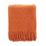 BATTILO HOME Lightweight Throw Blanket Textured Solid Soft Sofa Couch Cover Decorative Knitted Blanket, 50'x60', Orange