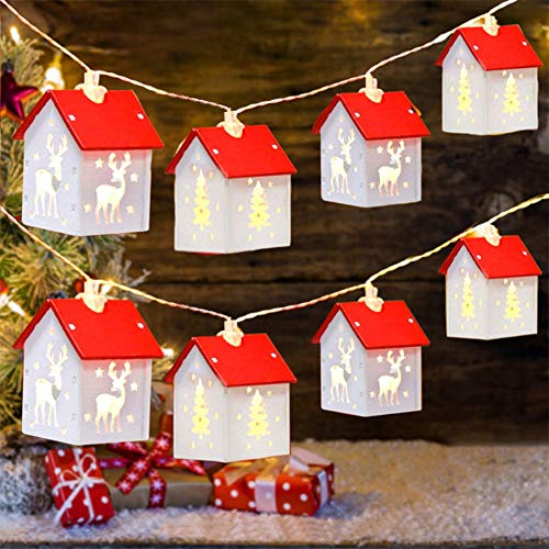 Christmas String Lights, 13.1 Ft 32 LED Christmas Wooden House Decoration String Lights Battery Powered Christmas Hanging Lights Fairy String Light for Indoor Christmas Party Decor