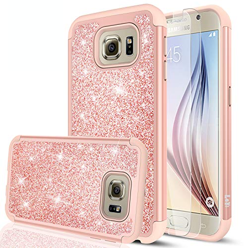 Galaxy S6 Glitter Case with Tempered Glass Screen Protector [2 Pack],LeYi Bling Girls Women Design [PC Silicone Leather] Dual Layer Heavy Duty Protective Phone Case for Samsung Galaxy S6 TP Rose Gold