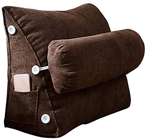 Almohadas de lectura Almohada de cuña triangular, almohada de almohada de almohada de lectura con rodillo de cuello extraíble y almohada de soporte trasero de bolsillo lateral para oficina, lectura Ca