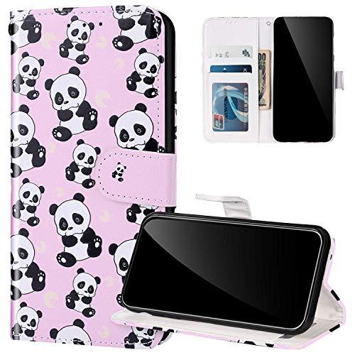 Etui Samsung Galaxy S20 Cuir Pu,Coque Portefeuille à Rabat pour Galaxy S20,Antichoc TPU Housse de Protection Coloré Motif Dessin Pochette Flip Case avec Fonction Stand et Fente pour Carte,Panda