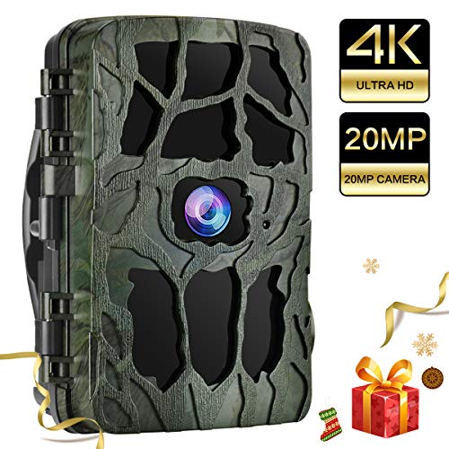 UncleHu Trail Cameras, Hunting Camera 20MP 4K Full HD Game Camera with Night Vision Motion Activated Waterproof, Scouting Cam IR LEDs 120° Wide Angle, Loop Recording for Wildlife/Home Security