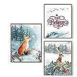WJWGP Decoracion Dibujos Animados De La Lona Marco De La Navidad Conejo Zorro Vacaciones Cuadros JesúS Cristo Pared Arte Poster Navidad Pintura 40x60cmx3 No Marco