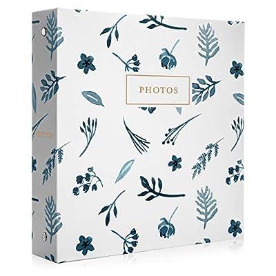 Jot & Mark Photo Album Set - 200 4x6 Photos, Clear Pocket Sleeves, 6 Tab Dividers, 3-Ring Binder 8.5x9.5 (Indigo Floral)